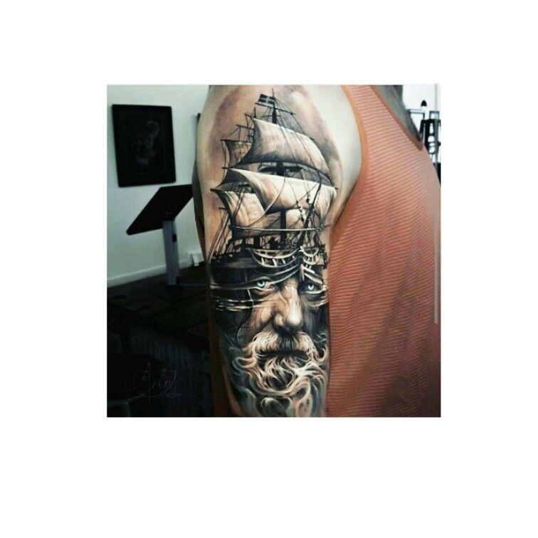Nautical Tattoo Poseidon And Ship: #Poseidon #Tattoo #ship ⛵ …