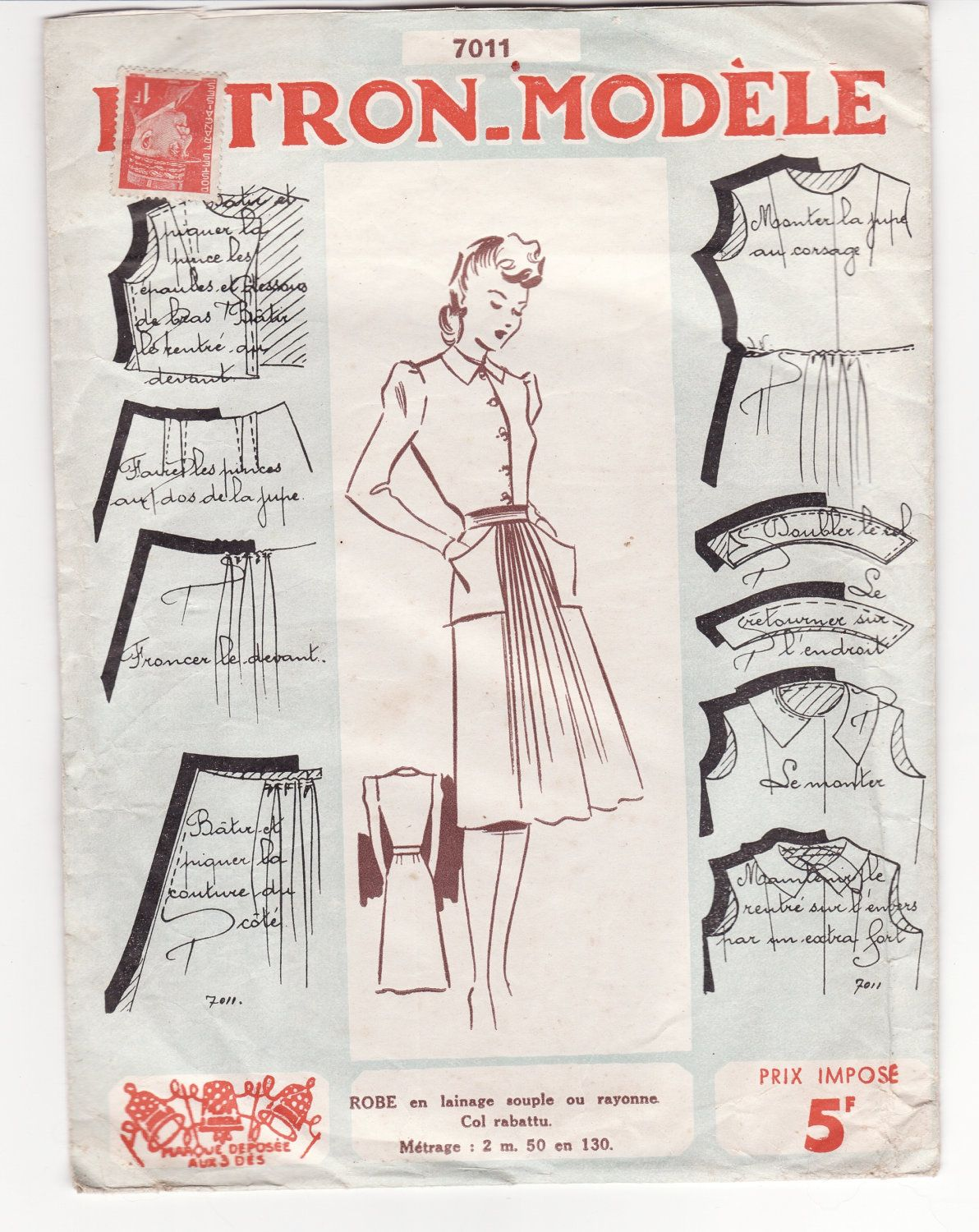 Vintage Sewing Pattern French 1940 S Patron Modele 7001 Ladies