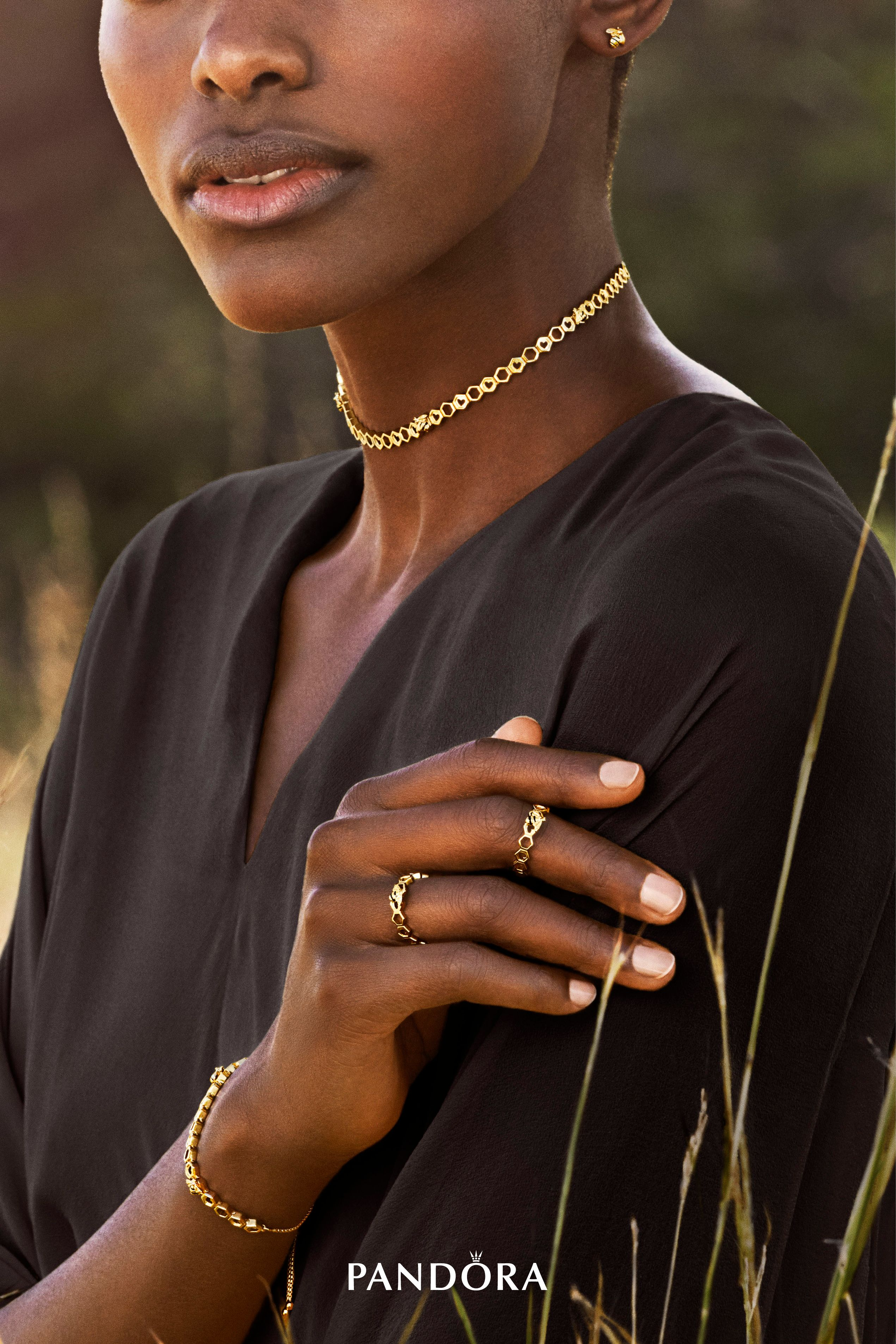 1961a8b2d3019e Indulge in elegance with the PANDORA Shine Honeybee Choker and matching  bracelet and rings. The honeycomb shapes make a dazzling appearance with  18k ...
