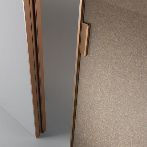 Structure In Brushed Copper And Rete Bronzo Glass Sliding Glass Door Sliding Doors Interior Sliding Door Handles