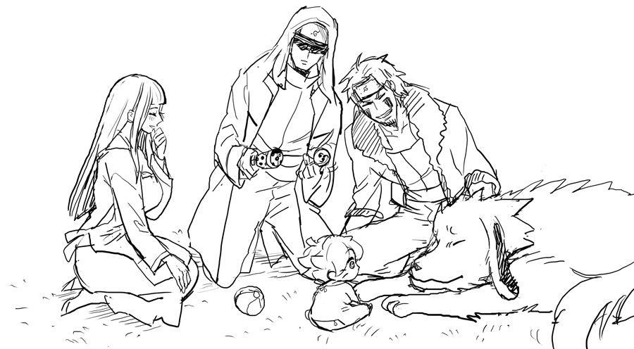 Kiba and Shino playing with Himawari :P