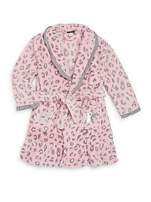 Petit Lem Sleep Little Girl's Leopard-Print Fleece Robe - Pink - Size