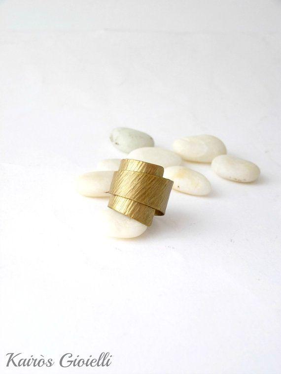 Anello a fascia in ottone, regolabile, con texture lineare, anello in ottone unisex