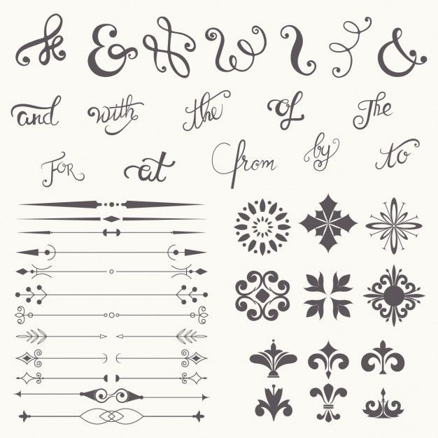 Calligraphy Design Elements Collection Free Vector