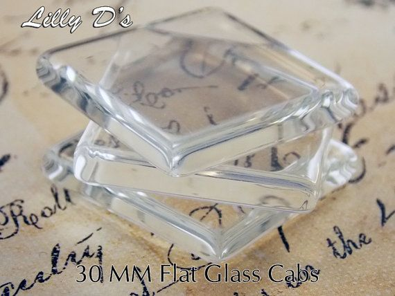 10- 30mm (1.25 inch) Flat Square Glass Cabochons - For bezel tray settings - Necklace bails - Genera
