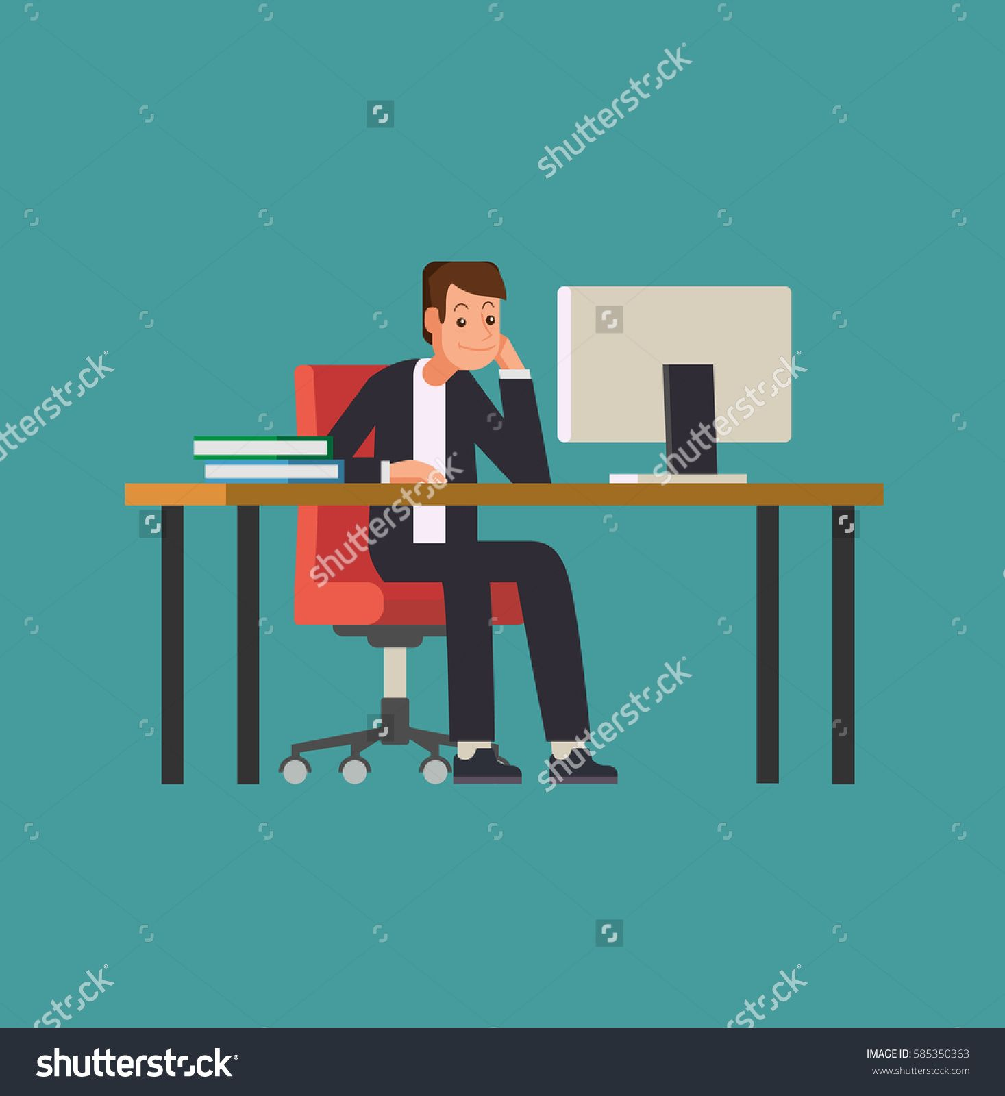 Man working on desktop computer. Businessman sitting on a red chair behind the office desk. Vector Flat Illustration Stock.