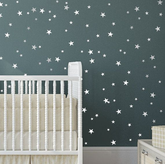 Star Vinyl Wall Decal   148 Silver Stars   Star Wall Decal Art Sticker For  Baby Room Nursery   Silver Vinyl Star Wall Decals