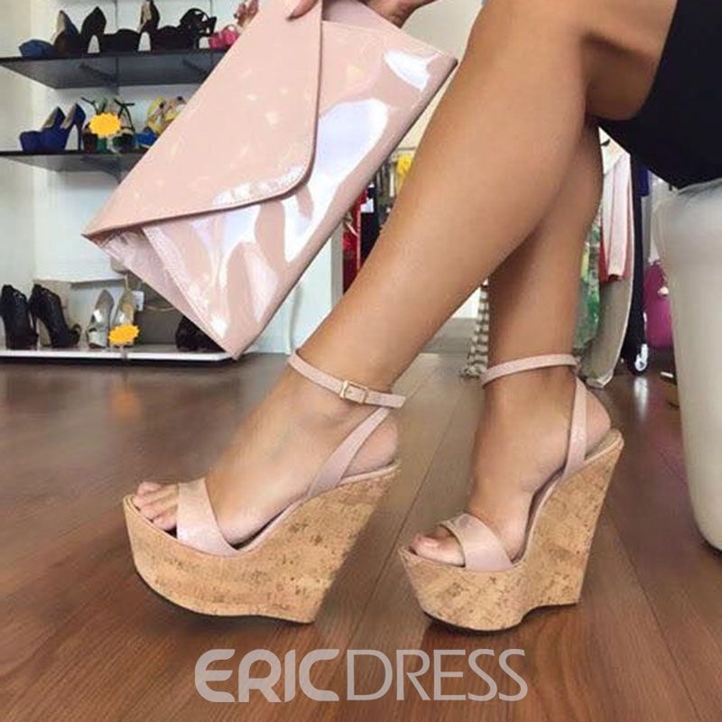 WHITE ANKLE STRAP CORK WEDGED PLATFORMS WEDGES STRAPPY SANDALS HIGH HEELS SIZE
