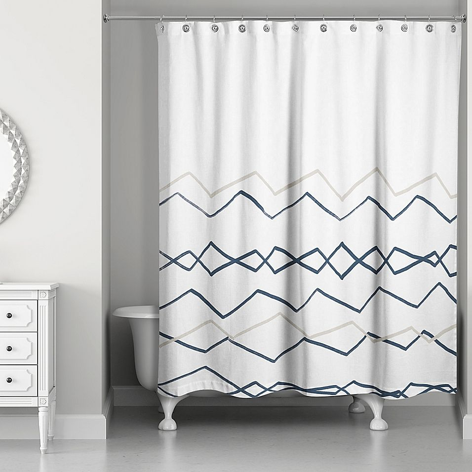 Neutral Colors For Small Powder Rooms: Designs Direct Tribal Lines Shower Curtain In Navy Blue