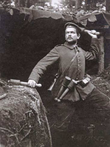 WWI German Grenadier Armed with Stick Grenades, 1915 in 2020 | Wwi ...