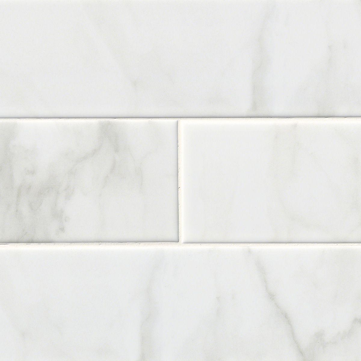 Classic Carrara Marble Bathrooms: Classique White Carrara Glossy 4x16
