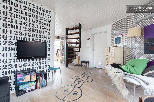 "Kid-friendly awesomeness in Copenhagen.  (""Villa Champignon"" Pearl"")  2 bedroom; accommodates 5. From airbnb."