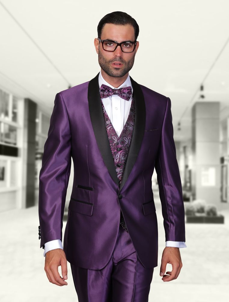 ROME PURPLE 3PC 1 BUTTON MENS SUIT WITH SATIN COLLAR AND TRIM ON THE ...