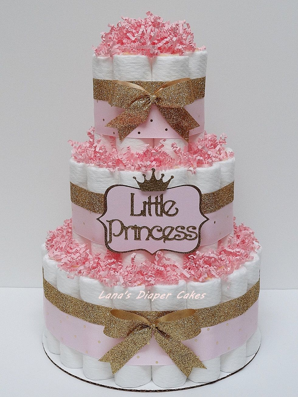 Pink And Gold Little Princess Diaper Cake Baby Shower Centerpiece By Lanasdiapercakeshop On Princess Diaper Cakes Baby Shower Princess Baby Shower Centerpieces