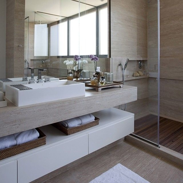 Banheiro TOP de mármore com armário de laca solto do piso e deck de ...