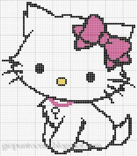 Hello kitty | graphs | Pinterest | Strickmuster, Muster und Bügelperlen