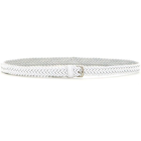 Fashion Focus Braided Leather Belt (23 AUD) ❤ liked on Polyvore featuring accessories, belts, white silver, braided belt, woven leather belt, white buckle belt, woven belt and leather belt