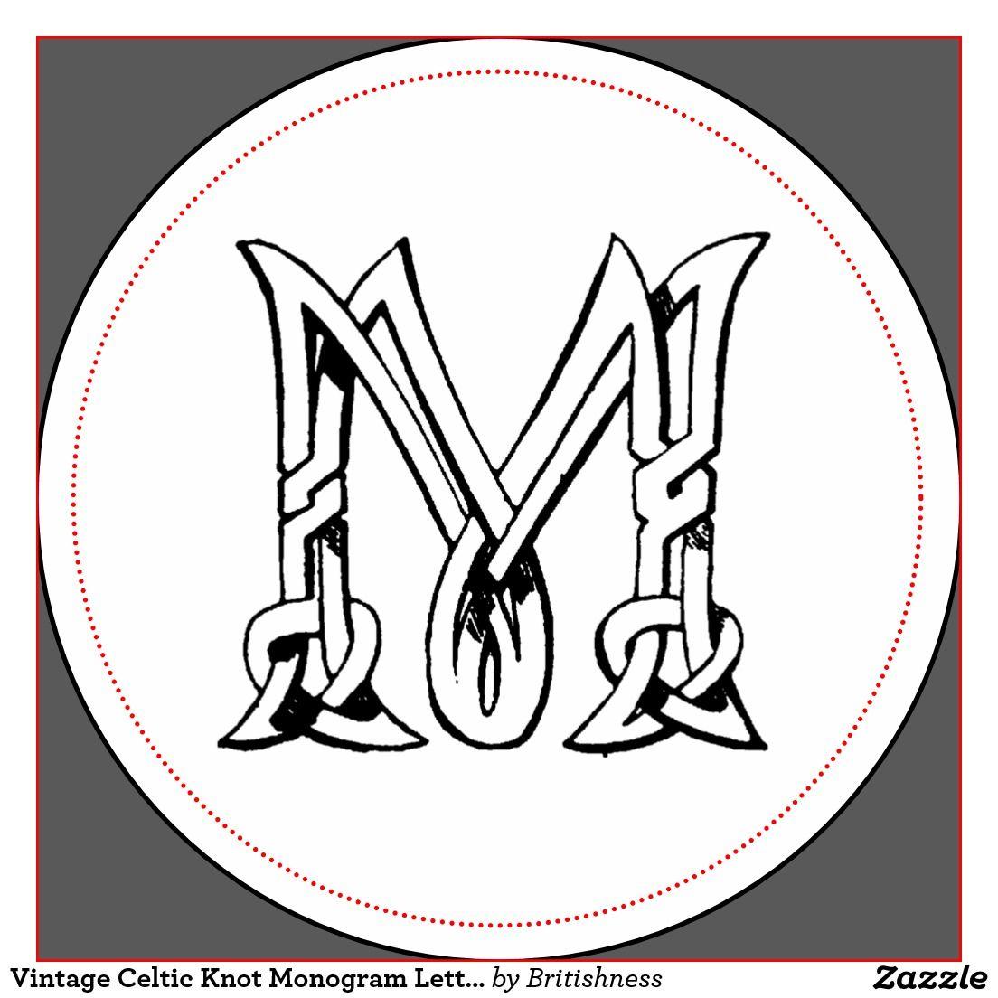 Vintage Celtic Knot Monogram Letter M Classic Round