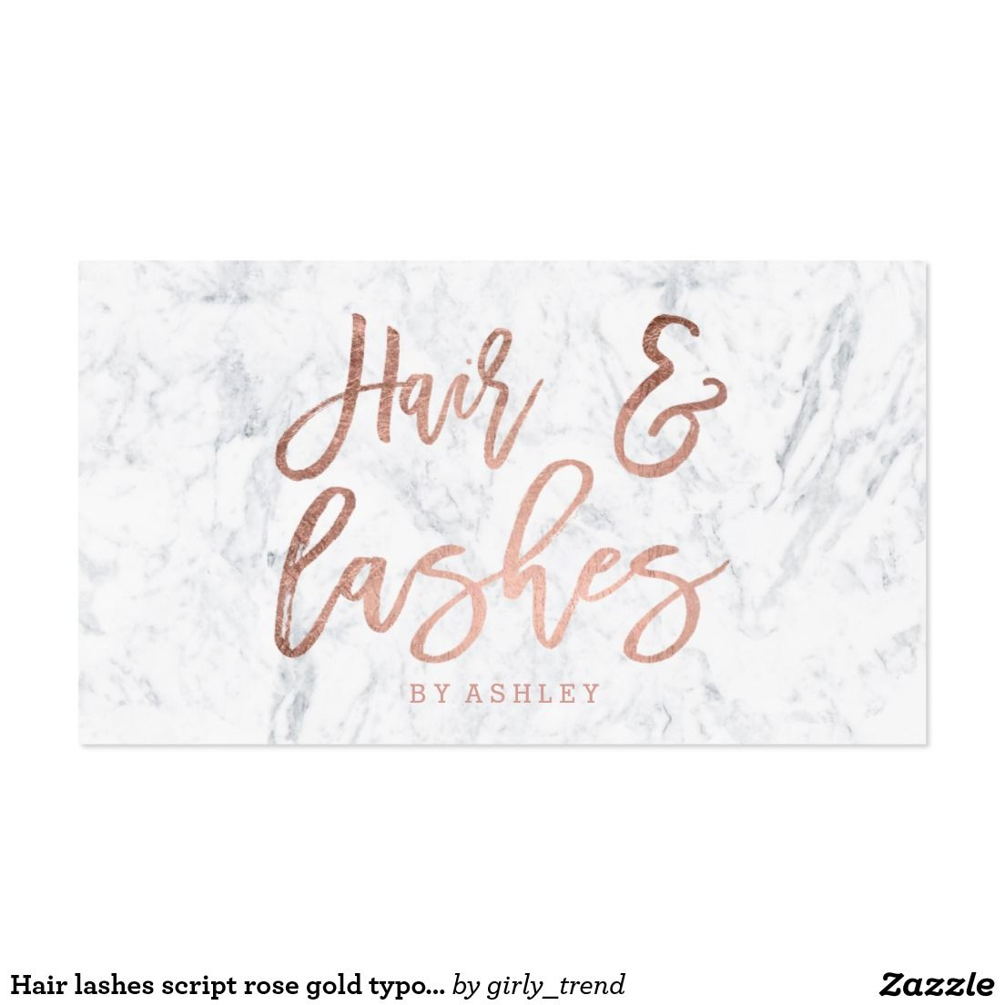 Hair lashes script rose gold typography marble business card ...