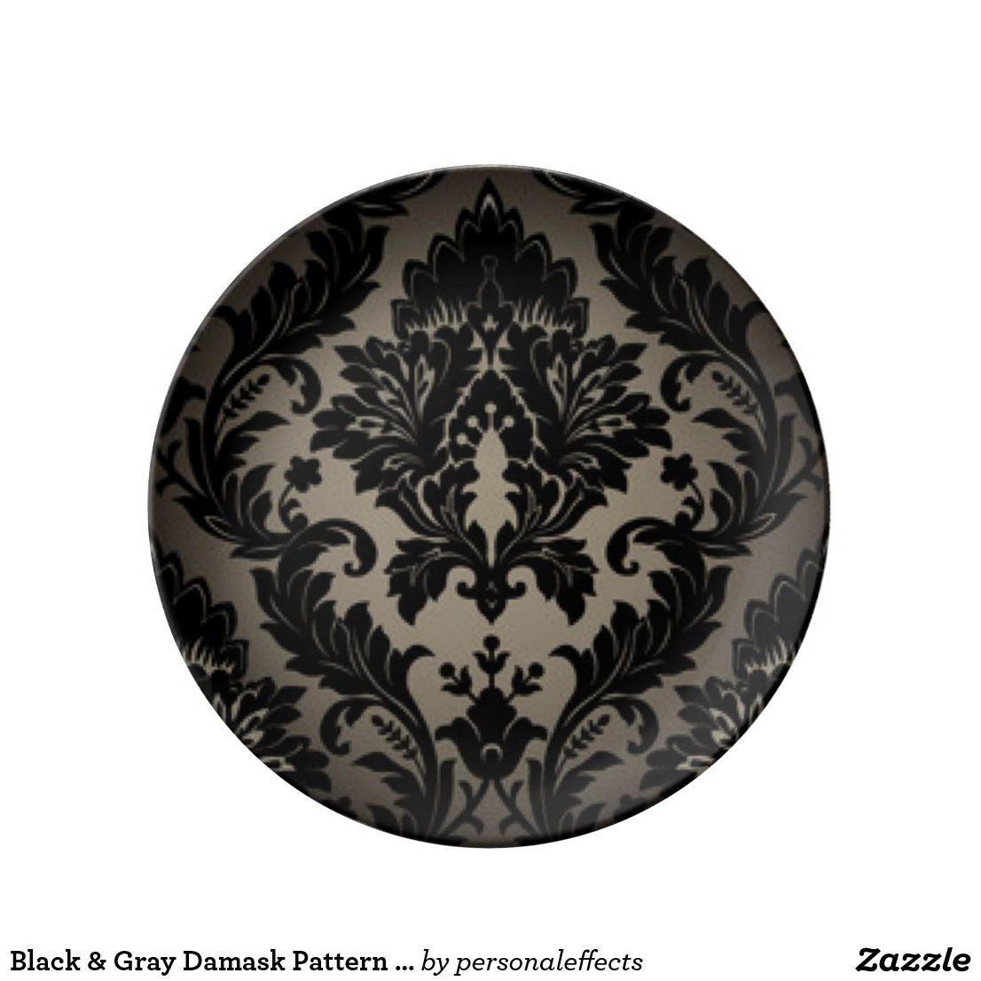 Black & Gray Damask Pattern Print Dinner Plate - damask, floral, flower, flowers, vintage, pattern, print, black, gray, black gray damask