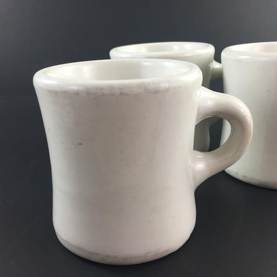 Vintage Diner Coffee Mug Set Of 4, China Heavy White