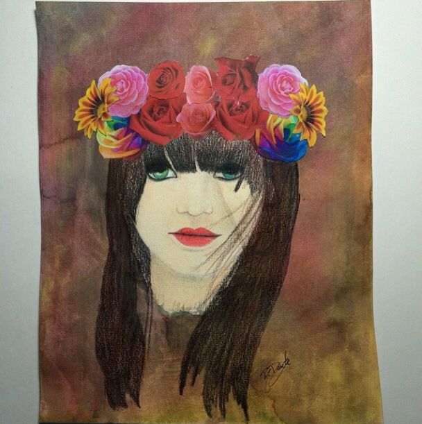 Flower crown (drawing) Artista: Bruna Duarte (@brunampduarte)