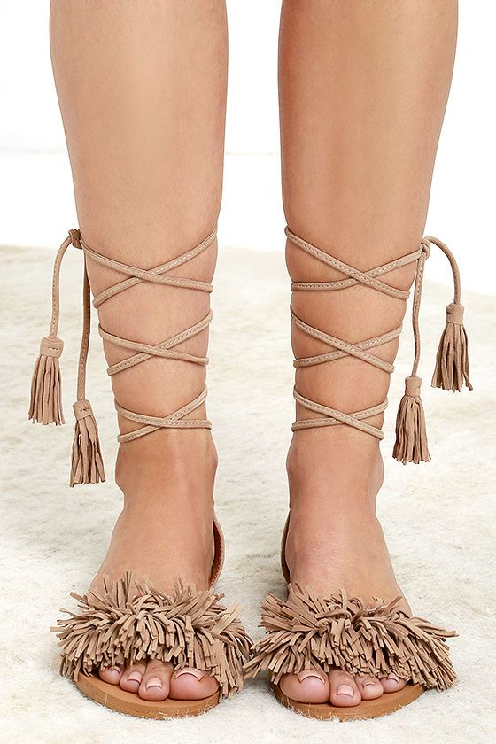 a2df36aa8c4 Steve Madden Sweetyy Blush Suede Leather Lace-Up Sandals
