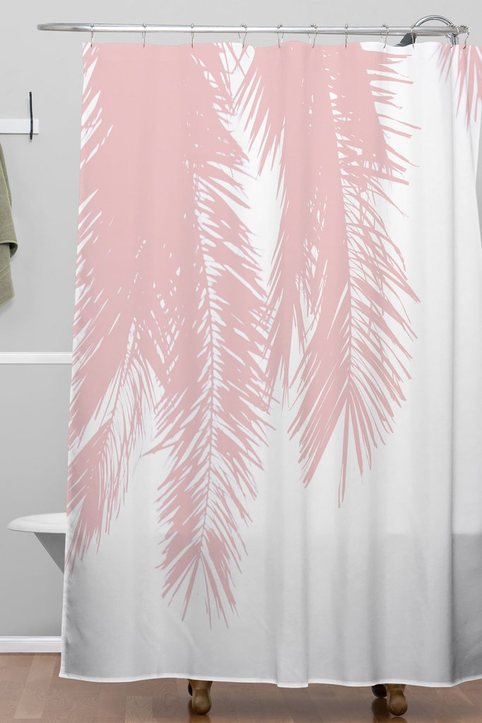 Pink Chiffon Palm Shower Curtain Ingrid Beddoes Pink Shower