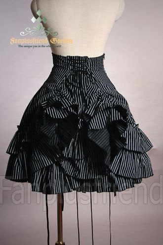 Classical Gothic Lolita: Bustle Tiered Cotton Skirt for $59.99. Cute!... I don't know where or if I'd wear this but it's TOTALLY cute!