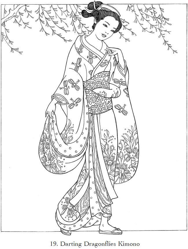 Japanese Kimono Designs Coloring Book Sketch Coloring Page