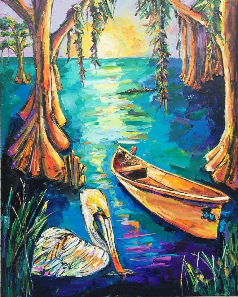 Bayou de blue commission louisiana art la art canvas