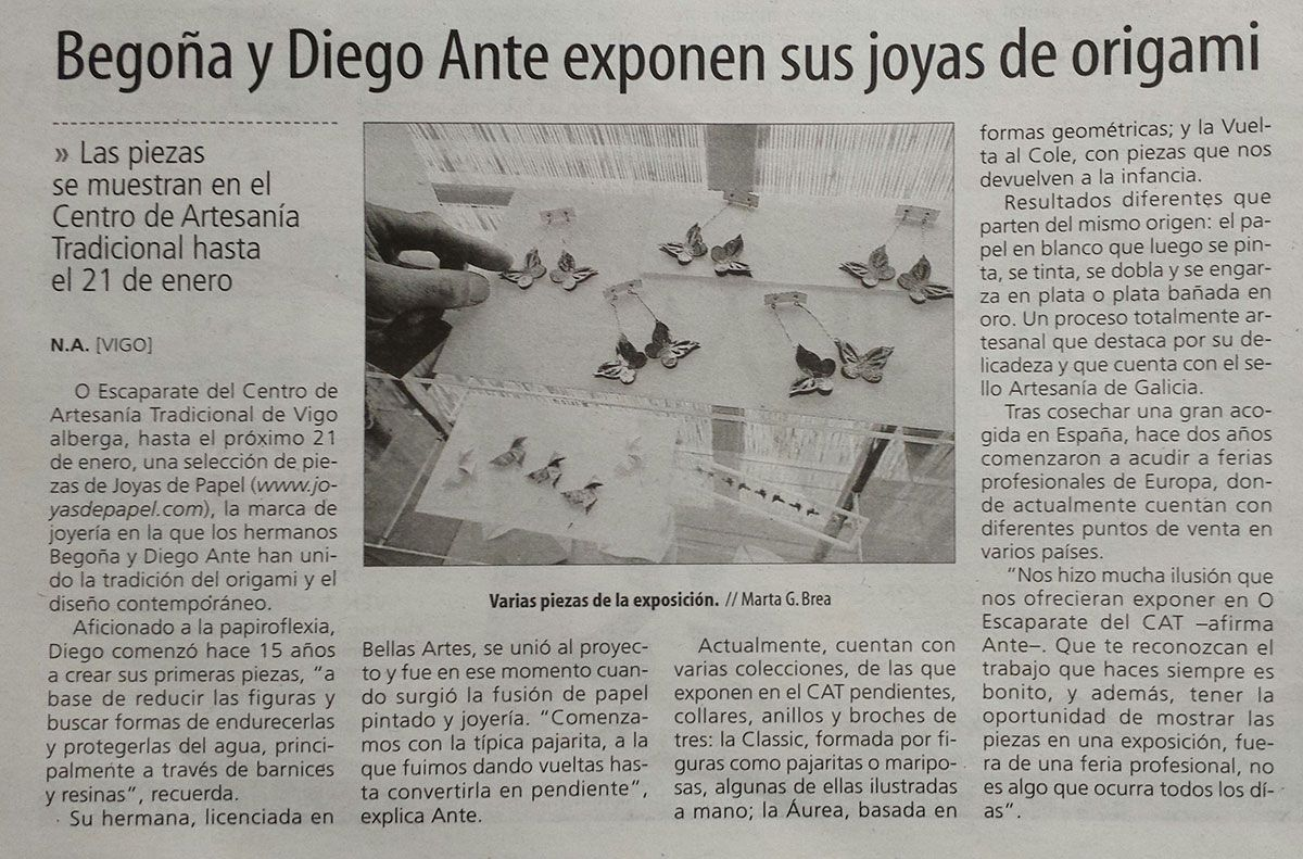 JOYAS DE PAPEL en el periódico FARO DE VIGO. 01/12/2015.