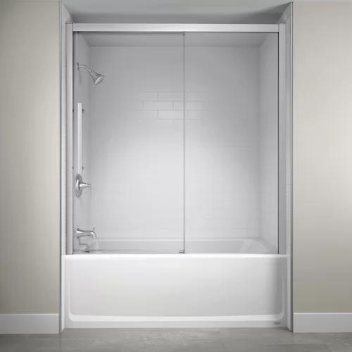 60 X 59 Single Sliding Semi Frameless Tub Door With Soft Close