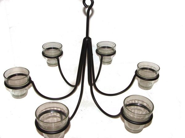 Wrought Iron 6 Arm Candle Chandelier Non Electric Candle