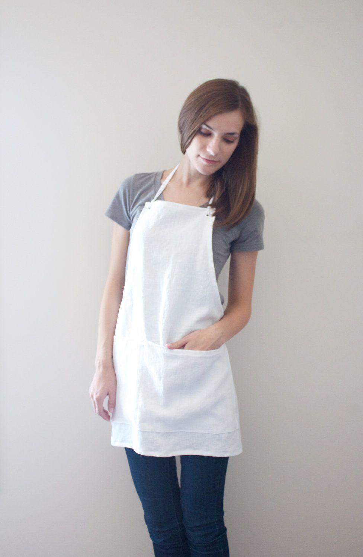 White apron ladies - Linen Apron White