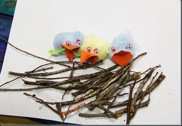 baby birds in nest   School stuff   Kindergarten art activities