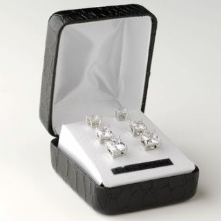 Dazzle your ears with these fabulous rhodium plated cz multi sized princess cut stud earrings. These glamorous earrings came in three different sizes with a stylish black leather snakeskin jewelry box included. Perfect accessory for your everyday wear or any special occasions.  5mm, 6mm, 7mm