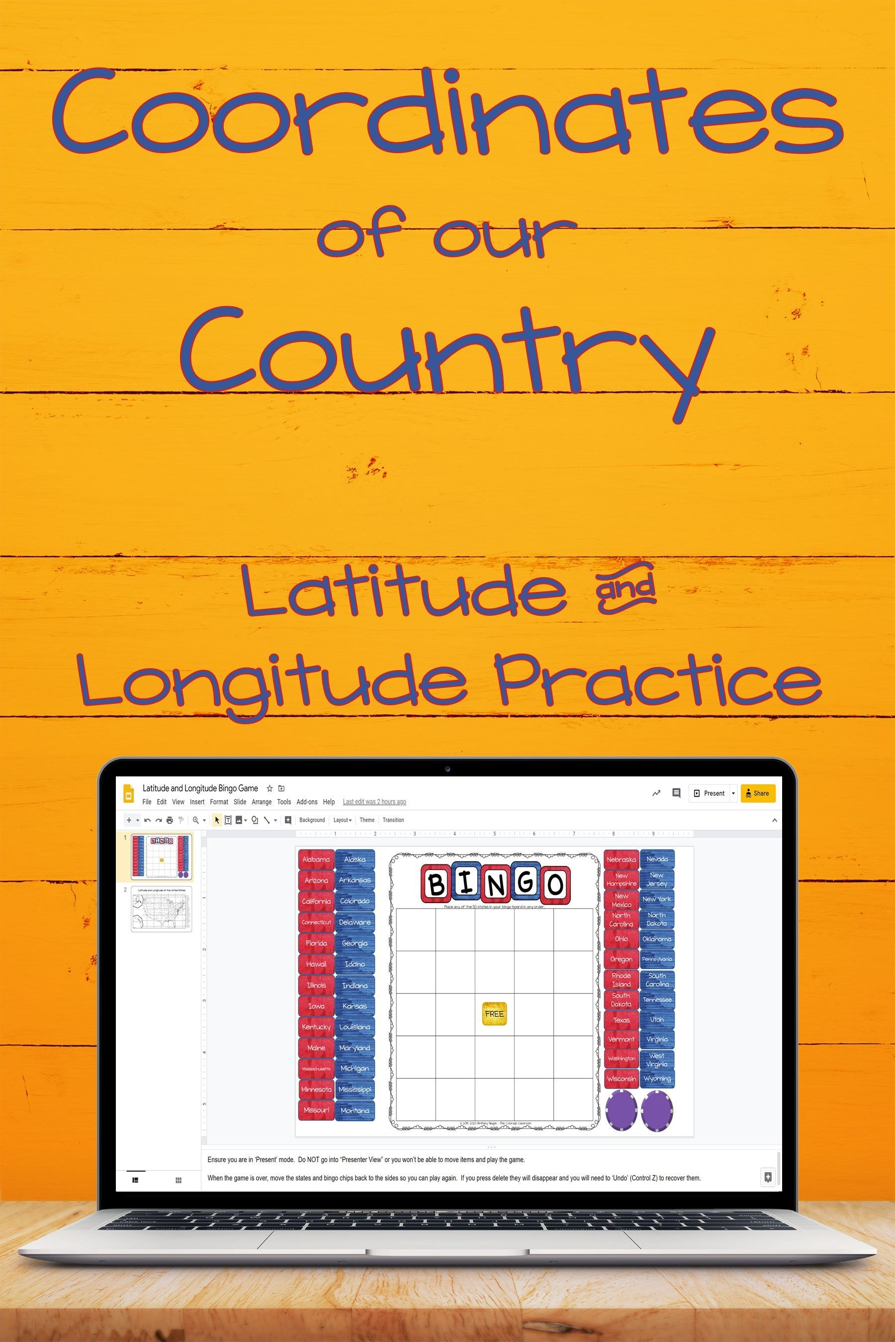 Us Geography Latitude And Longitude Coordinate Practice In