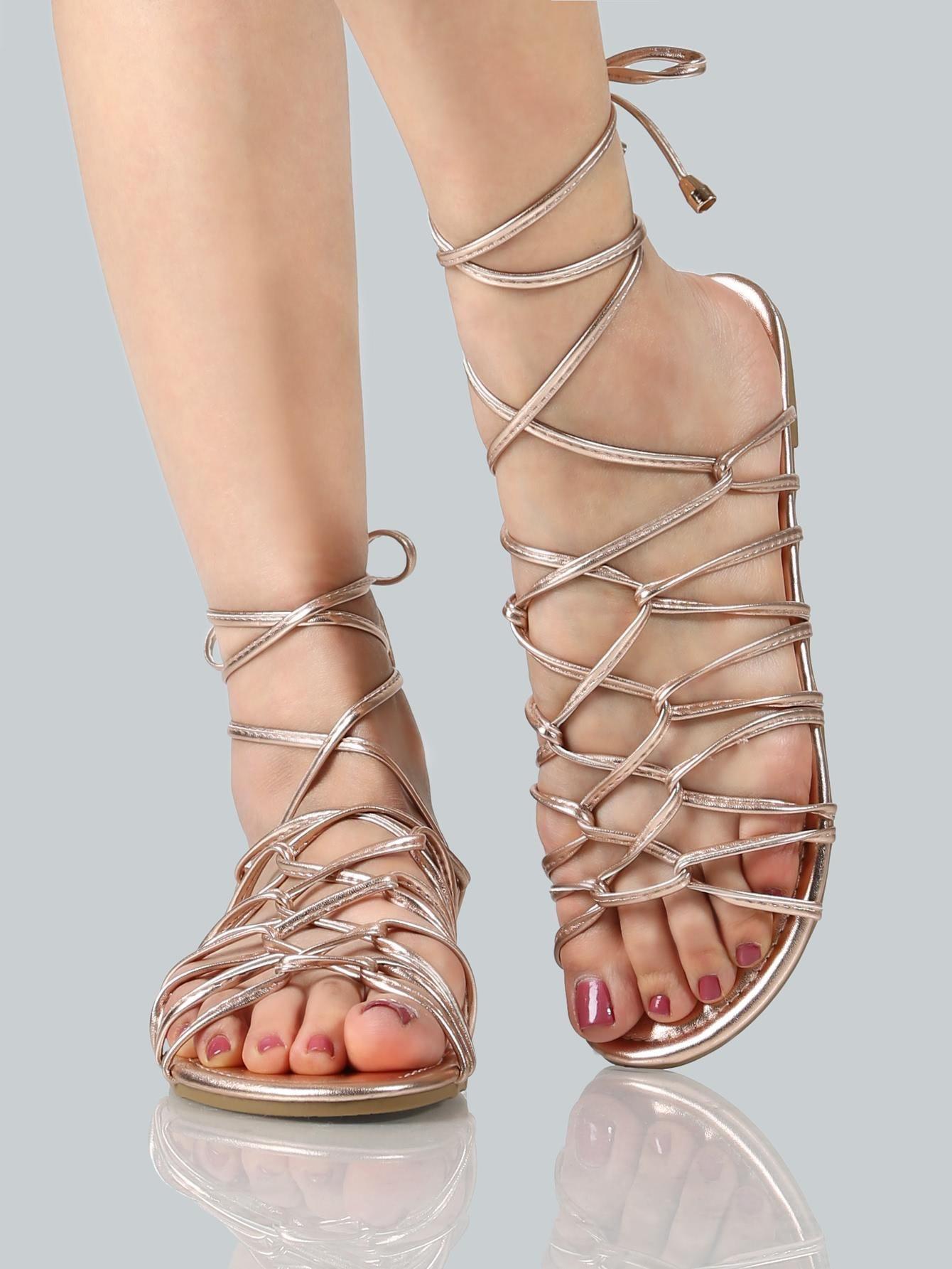6f7f881827d8f1 MakeMeChic - MAKEMECHIC Metallic Super Strappy Sandals ROSE GOLD -  AdoreWe.com