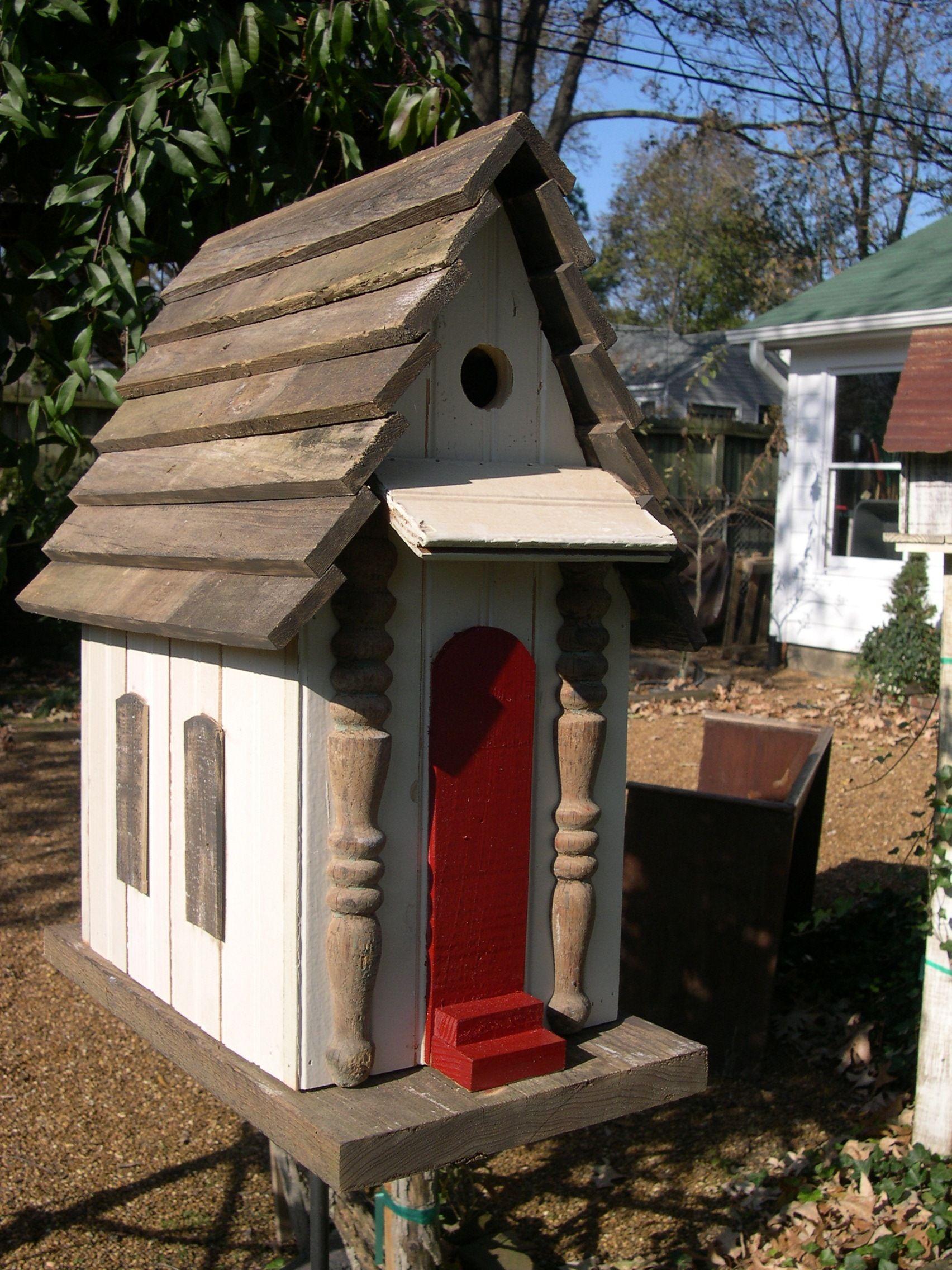 Best Birdhouse Wood Shingles Red Door Spindle Windows Bird 400 x 300