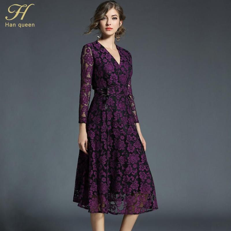 d6ed5b10fe6b8 H Han Queen 2018 Spring Summer Vintage Lace Dress Women's Slim V ...