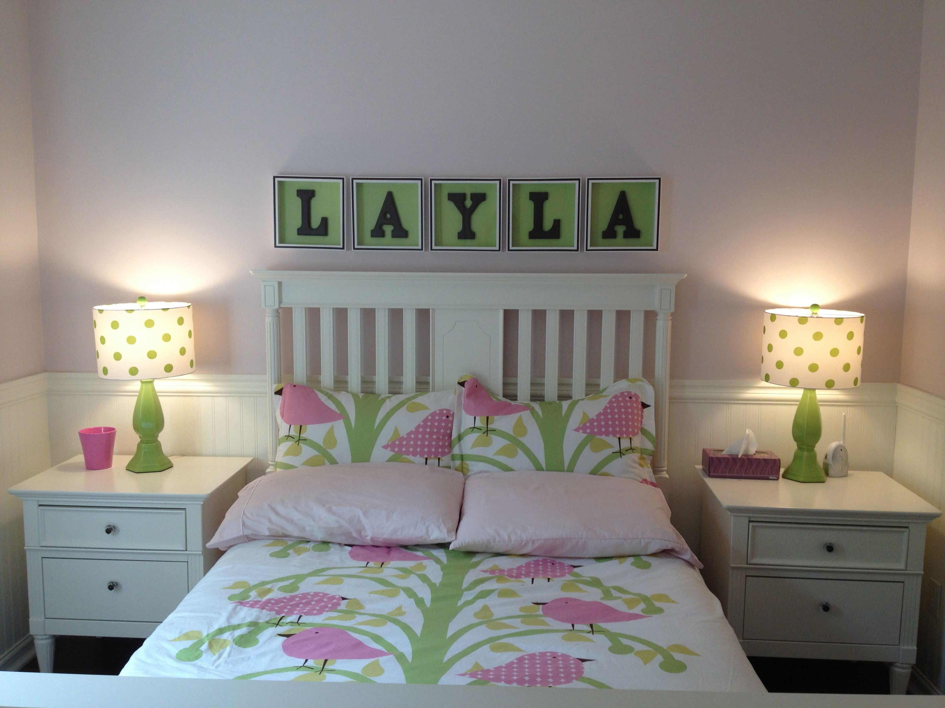 Young Girlu0027s Room In Pink, White And Green With Cute Bird Themed Linens.