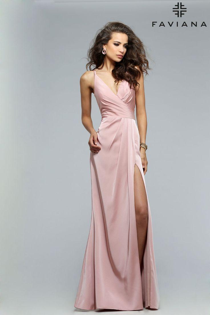 Faille satin vneck with draped front u skirt faviana style