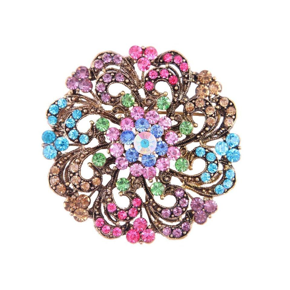 Noble Rhinestone Crystal Diamante Inlay 5 Colors Brooch Pin Bronzed Brooches