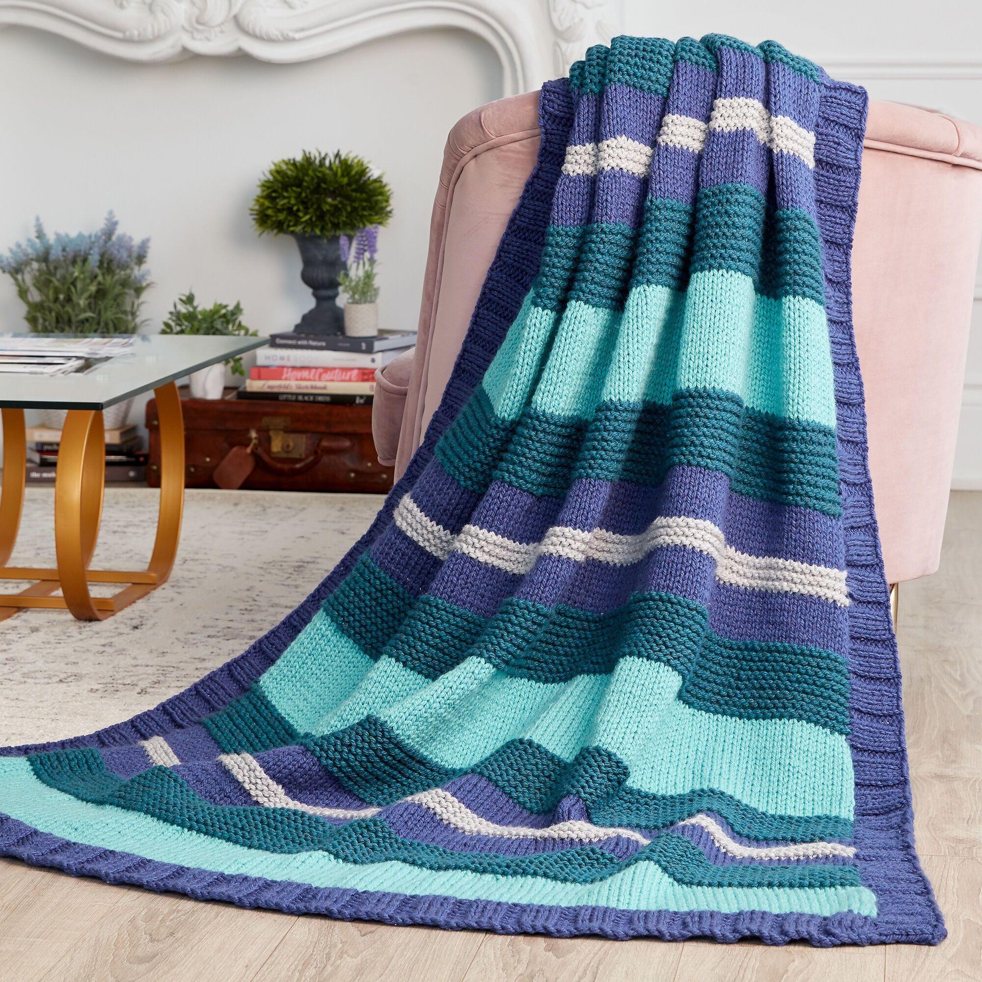 Bernat Simple Stripe Knit Blanket, Gray   Yarnspirations ...