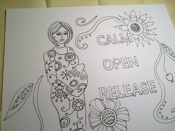 Mindfulness Coloring Pages Pdf : Birth affirmation coloring page for adults instant download pdf