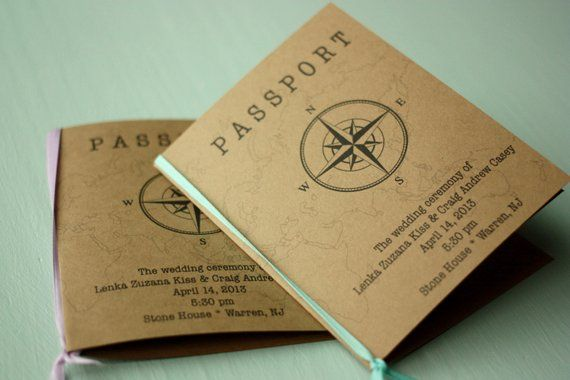 Rustic Passport Wedding Programs