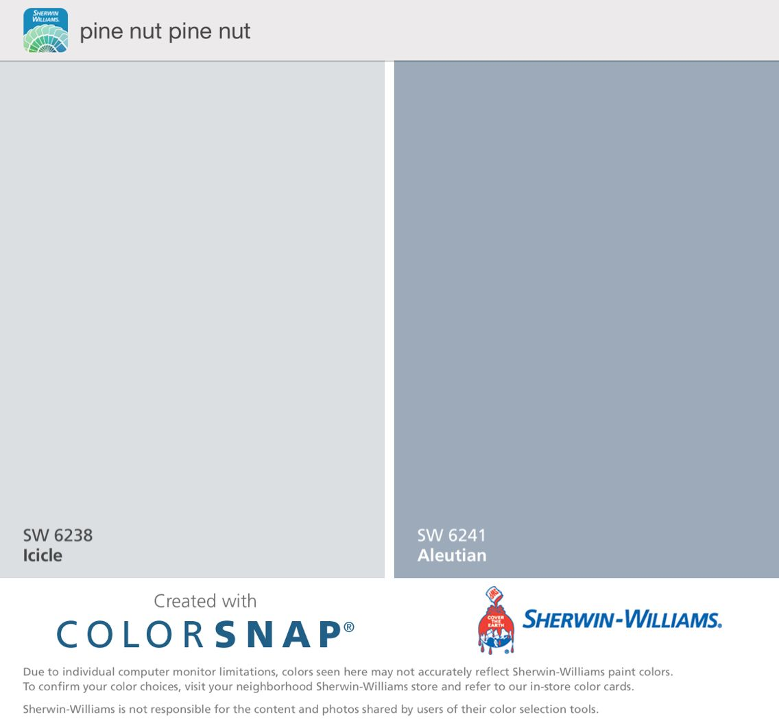 Pine Nut's Paint Colors. Cool Gray Blue. Icicle And
