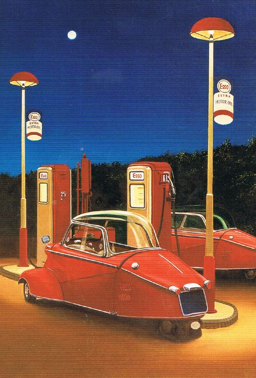postkaart briefkaartkunst concept cars retro vintage