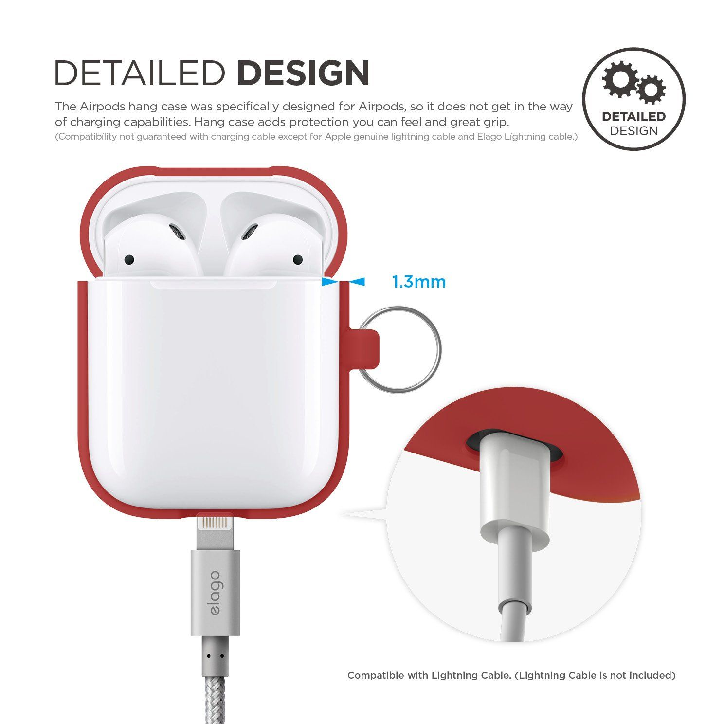 watch 05c60 ad439 elago AirPods Hang Case [Red] - [Extra Protection] [Added Carabiner ...